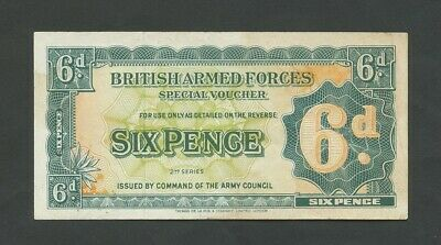 BRITISH ARMED FORCES 6d  1948-59 2nd series  good VF  Banknotes