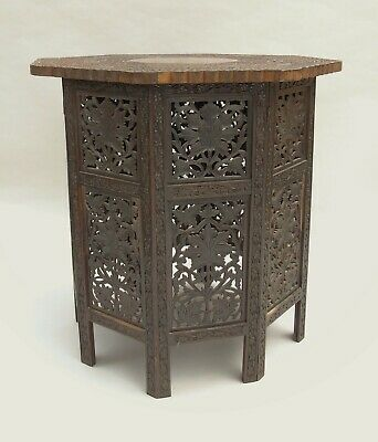 Antique Carved Indian Hardwood Table Inlaid Brass