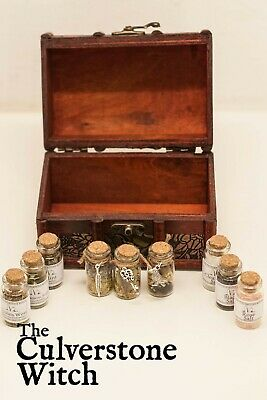 3 Herb 3 Salt 3 Witch Bottle Chest Set - Wicca Pagan Witchcraft Charm Voodoo