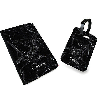 Personalised NAME MARBLE Print PU Leather Passport Cover & Luggage Tag- 0026