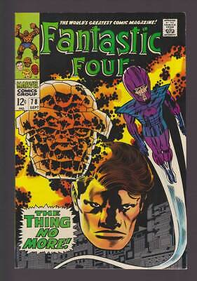 Fantastic Four # 78  The Thing no More !  grade 9.0 scarce book !