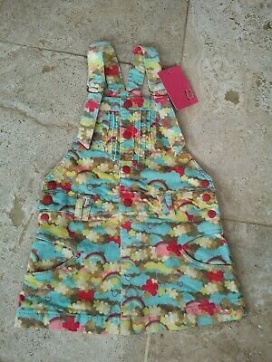 Bnwt Akr Rainbow Detail Cordaroy Dungaree Pinafore Dress Age 6