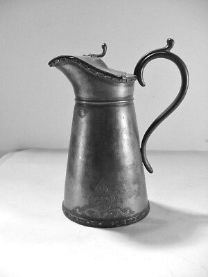 Antique Pewter Syrup Pitcher /  Creamer / Jug Embossed With Hinged Lid, Very Old