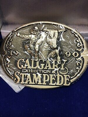 1990 Calgary STAMPEDE BELT BUCKLE Limited Edition Solid Brass Wild West Series