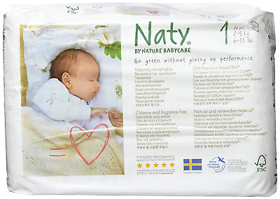 Naty by Nature Babycare Newborn Size 1 ECO Nappies - 2 x Packs of 26 52 Nappies
