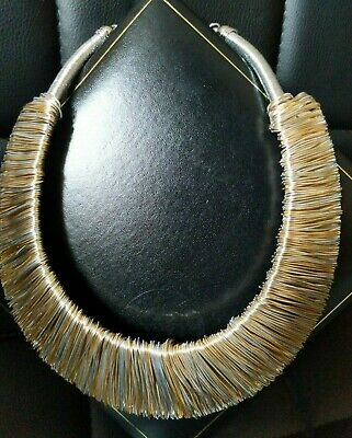 Necklaces & Pendants Chunky Hammered STATEMENT Long Big Large Gold Bib Collar Choker Necklace TRIBAL Costume Jewellery