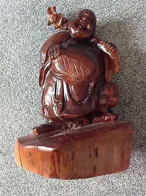 "Vintage 12 ""  Antique Chinese Carved fm Whole WOOD Happy Laughing  Buddha Statue"