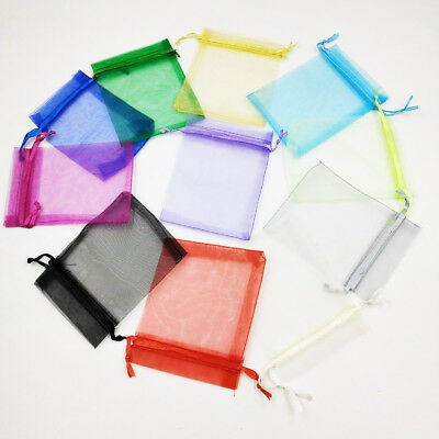 9x12cm Luxury Organza Wedding Favour Gift Candy Bags Jewelry Pouch 18 Colours UK