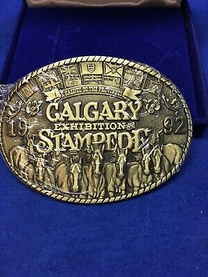 1992 Calgary STAMPEDE BELT BUCKLE Limited Edition Solid Brass Wild West Series