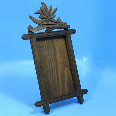 5x3 Antique Black Forest Wood Carved TABLE PHOTO FRAME Edelweiss Brienz c1920