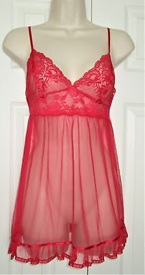 VICTORIAS SECRET Sexy Red Mesh & Lace BABYDOLL NIGHTGOWN sz S Lingerie NIGHTIE