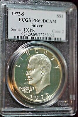 1974-S EISENHOWER CLAD DOLLAR PCGS MAC PR-69 ULTRA HEAVY DCAM SPOTLESS *