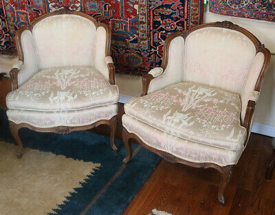 Gorgeous Pair French Carved French Louis XV Bergere Lounge Club Chairs C1920s