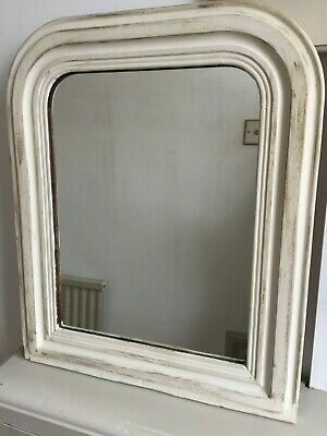 19C Antique French Louis Philippe Mirror Painted White Distressed 53x44cm m215
