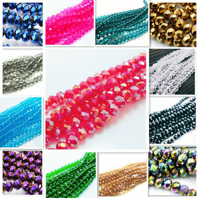 200/500pcs 6mm Loose faceted Rondelle glass crystal Beads Findings Wholesale