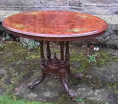 Antique Victorian Burr Walnut Inlaid Oval Occasional Console Table