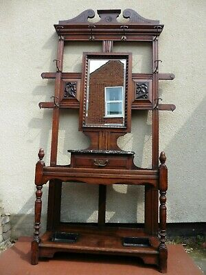 Antique Victorian Carved Oak Hall Stand, Marble Top, Mirror, Hooks, Drawer, 1900