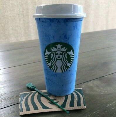 Starbucks Marble Reusable Hot Cup Drink Cup blue