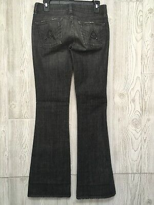 9039bdc5d2bc 7 For All Mankind Women's Black Rhinestone Embellished A Pocket Flare Jeans  26