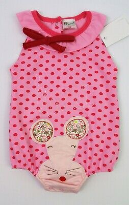 Baby Girls Clothes GELATI Applique Mouse Romper Outfit 9 Months BNWT NEXT DAY