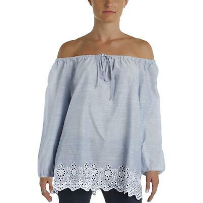 a9257300 NYDJ Womens Blue Embroidered Pleated Off The Shoulder Casual Top XL BHFO  1034