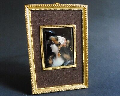 """Cleopatra Fine small signed French Antique Limoges Enamel Plaque ca 1880 4"""""""