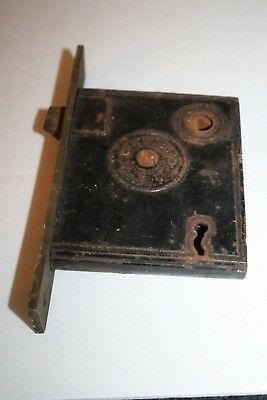 Antique 1800's  P. & W. Co  Cast Iron Mortise Lock NO KEY Restore Reclaimed Vtg