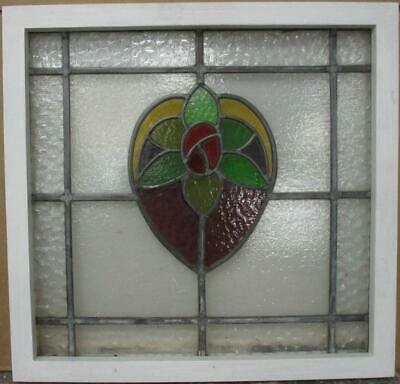 "OLD ENGLISH LEADED STAINED GLASS WINDOW Pretty Floral Heart Design 19.75"" x 19"""