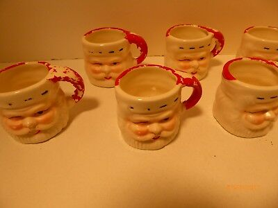 6 Tiny Ceramic Santa mint & nut cups for your Christmas Table Decor