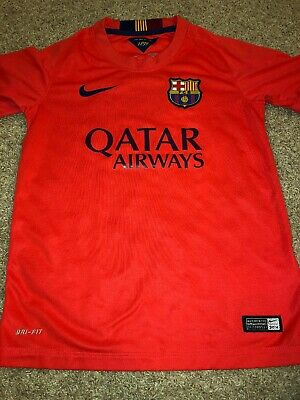 3d9815ba563 NIKE Soccer Jersey QATAR AIRWAYS FCB MESSI Jersey Size Small Youth Unicef!