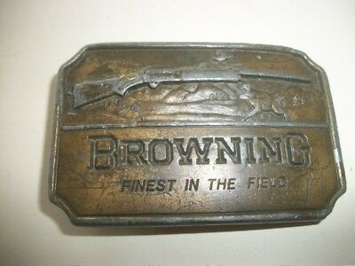 vintage  Metal BROWNING Finest in the field  1970s Belt Buckle