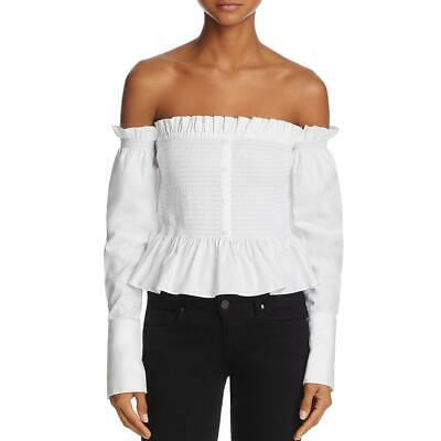 52b1900255e Petersyn Womens White Ruffled Off-The-Shoulder Pullover Top Shirt XS BHFO  7316