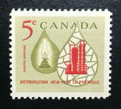 Canada #381 MNH, Oil Industry - Lamp and Refinery Stamp 1958