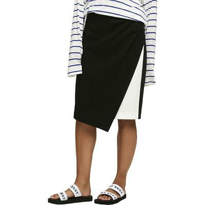 caf403712 DKNY Womens Black-Ivory Crepe Colorblock Office Wear Pencil Skirt 12 BHFO  3652