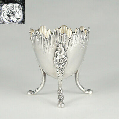 Antique French Sterling Silver .950 Hallmarked Egg Cup, Scalloped Border, Footed