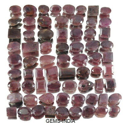 Certified 630 Ct/68 Pcs Natural Untreated Ruby Mixed Faceted Gem Lot For Jewelry