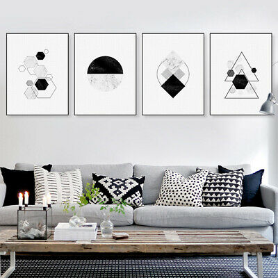 Modern Abstract Black White Geometric Marble Shape Poster Painting Home Decor