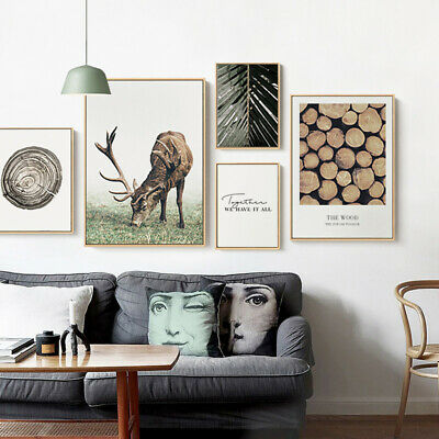 Scandinavian Poster Wall Art Canvas Print Deer Wood Nordic Decoration Picture