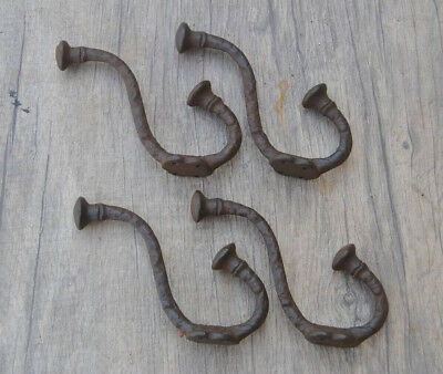 4pcs vtg salvage victorian iron coat hat robe hanger library school house hooks