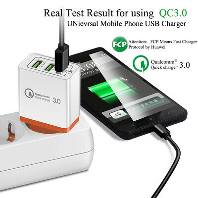 QC 3.0 Fast Quick USB Wall Charger Power Charging Adapter for iPhone X 6S Plus