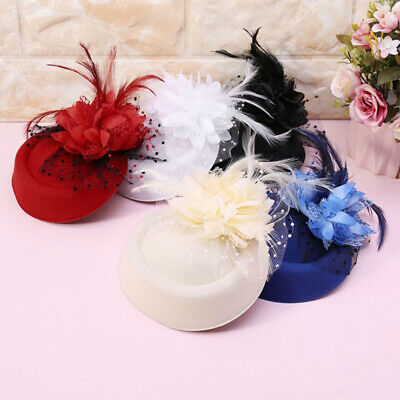 Women Lace Fascinator Hat Hair Clip Headband Feather Flower Brides Wedding Party