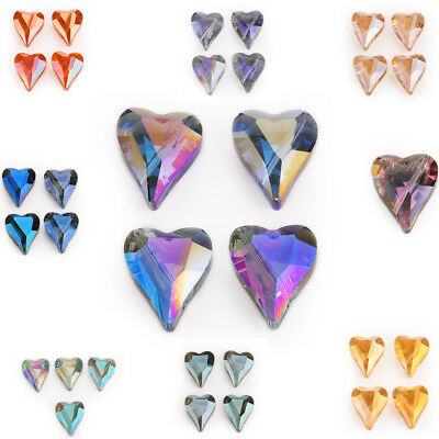5pcs 22x18mm Faceted Glass Crystal Heart Spacer Loose Beads DIY Jewelry Wedding