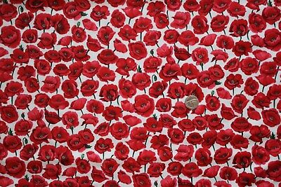 Poppy Field on White fabric fq 50x56 cm Nutex 80060-103 100% Cotton