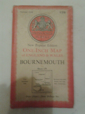 Ordnance Survey New Popular Edit 1 inch map E&W Sheet 179 Bournemouth