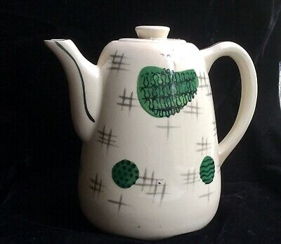 MCM Atomic Age Coffee Pot / Hand-Painted Pottery 1950s