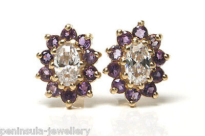 9ct Gold Amethyst Cluster stud earrings Gift Boxed studs Made in UK Birthday