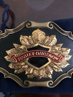 Harley Davidson Belt Buckle Leather- Gold-Red Enamel-Brushed Gold unisex