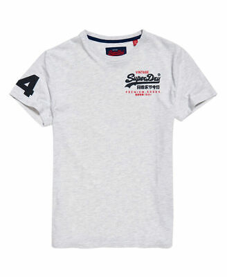 New Mens Superdry Premium Goods Duo Essential T-Shirt Ice Marl
