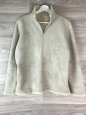 Next Beige Cream Pull On Faux Sheepskin Jacket Coat Size Small S 10 12 10205