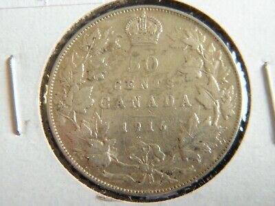 1916 Canada Sterling Silver 50 Cent Piece-George V-19-236